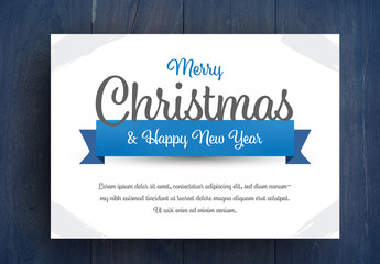Christmas Card Layout With Blue Accents