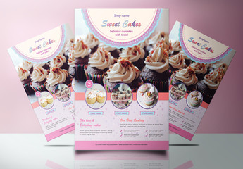 Pastry Shop Flyer Layout with Pink Accents
