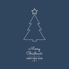 Christmas greetings with hand drawn tree. Vector.