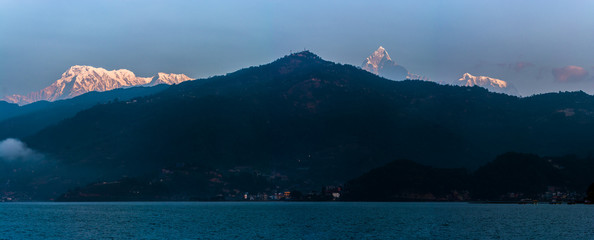 Mountain peak Annapurna View from Pokhara city , Nepal
