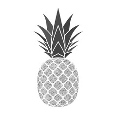 Pineapple with leaf. Tropical silver exotic fruit isolated white background. Symbol of organic food, summer, vitamin, healthy. Nature logo. Design element silhouette icon. Vector illustration