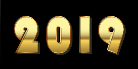 Happy New Year background. Gold 3D number 2019 isolated on black. Bright golden design for greeting card, Christmas banner, holiday celebration, decoration poster, calendar. Vector illustration
