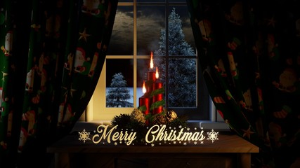 merry christmas with ornaments candles curtains in the window and outside conifers and snowing far view