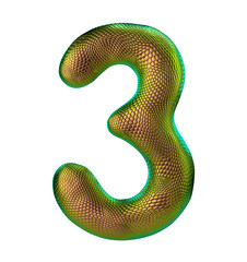 Number 3 three made of natural gold snake skin texture isolated on white