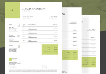 Invoice Layout with Green Accents