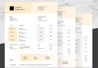 Invoice Layout with Pale Orange Accents