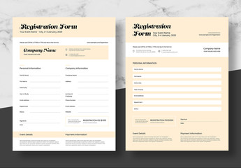 Registration Form Layout with Pale Orange Accents