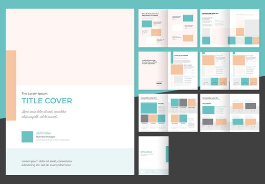 Catalog Layout with Orange and Teal Elements