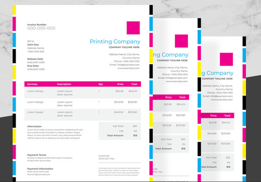 Invoice Layout with CMYK Design Elements