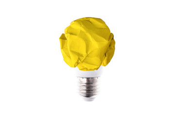 Wall Mural - crumpled yellow paper light bulb isolated on white background