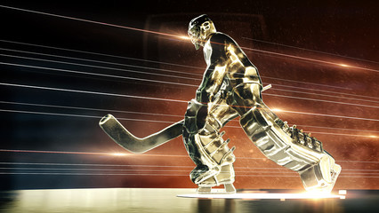 bronze sculpture of ice hockey goalie in action pose with dramatic light dust particles in the air and fire rays. hockey legend, competition, winner concept background 3d render.