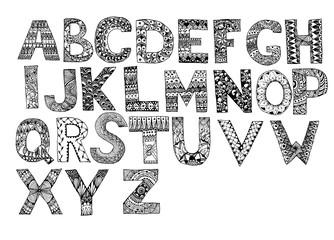 Hand drawn artistic letters set. Handdrawn doodle alphabet. Unique zentangle letters collection.