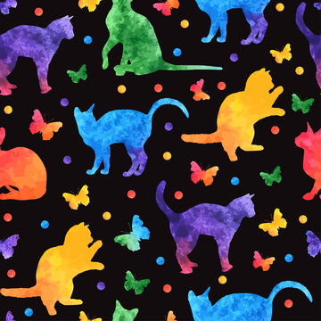 Colorful watercolor seamless pattern with cute cats and butterflies isolated on black background. vector eps10.