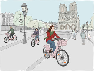 Paris city scene. A woman enjoys riding a bicycle through the city, in front of the famous Notre Dame Cathedral. Hand drawn illustration.