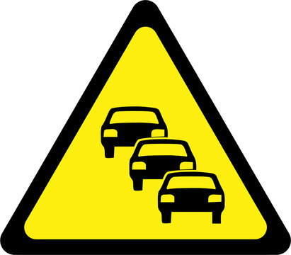 Warning sign with traffic queue