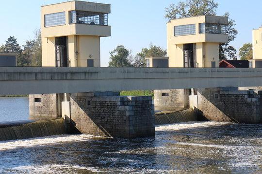 Lock chamber on Vltava river in Hluboká nad Vltavou, Czech republic
