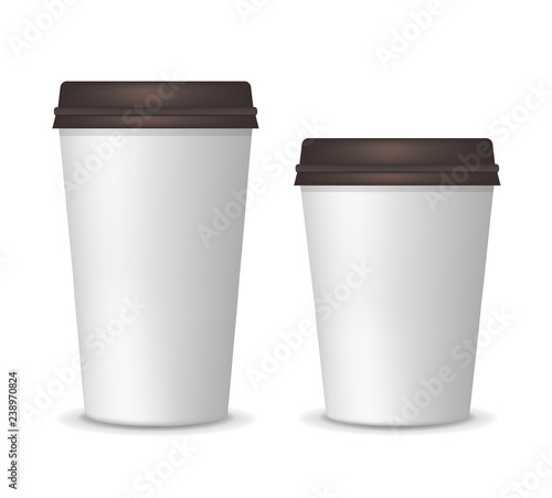 Realistic Paper White Coffee Cups Big And Small Size Carton Coffee