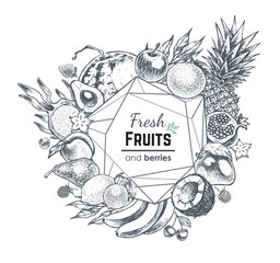 Fruits and berries hand drawn banner. Vector frame