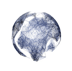 model of the earth wire, 3D rendering, pleksus, technolgoy, isolate on white background