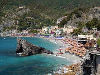 a panoramic view of the beaches in Monterosso al Mare,  Cinque Terre, Italy