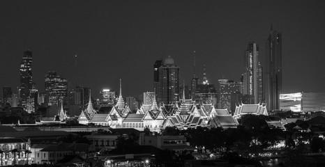 Wall Mural - Black and white, Grand palace and Wat Phra Kaew in Bangkok city, Thailand
