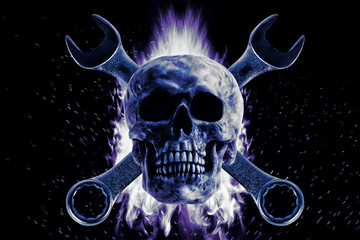 Skull and crescent wrench on fire, on a black background. Photo manipulation artwork, 3D rendering.