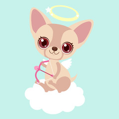 Cute chihuahua Cupid with bow and arrow. Funny sticker for a gift. Character for birthday or valentine's day.