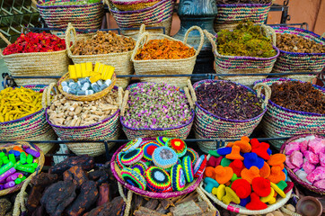 Moroccan herbs and beauty products in Marrakesh, Morocco