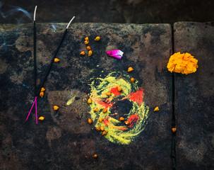 Hindu Prayer offering along the Ganges River