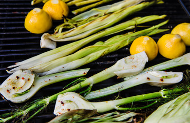 Fresh grilled summer produce of fennel and lemon