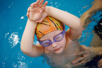 Baby swimming.