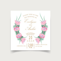 Floral wedding invitation card template design with protea flowers