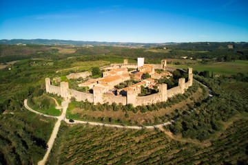 Medieval village of Monteriggioni in Tuscany