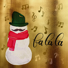 Watercolor Hipster Singing Snowman with Mustache, Scarf, Music Notes in Red, Green & Gold Background