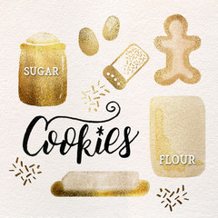 Watercolor Christmas Holiday Gingerbread Cookie Baking Kitchen Ingredients: Gold Leaf Metallic Foil