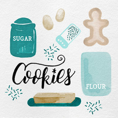 Watercolor Christmas Holiday Gingerbread Cookie Baking Kitchen Ingredients in Blue, Teal, Turquoise