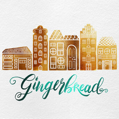 Watercolor Christmas Holiday Decorated Dutch Gingerbread Village Houses in Metallic Gold & Teal Foil