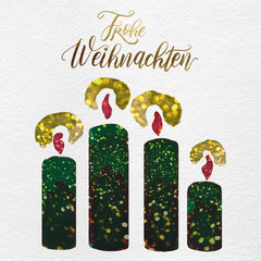 Painted Christmas Holiday Advent Candles Written German Greeting: Green, Pink, Metallic Gold Glitter