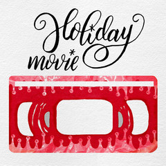 Painted Gouache Christmas Holiday Movie Retro VHS Tape with Foil Doodles & Lettering in Red & White