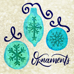 Watercolor Painted Christmas Holiday Tree Ornaments, Snowflake, Ribbon, Lettering: Aqua, Royal, Gold