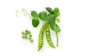 Isolated sweet green peas. Top view. White background. - Image