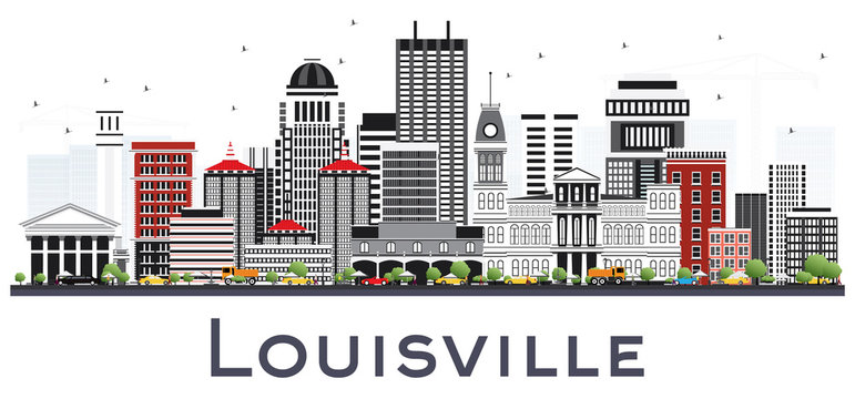 Louisville Kentucky USA City Skyline with Gray Buildings Isolated on White.