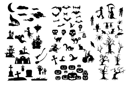 The Collection of halloween silhouettes icons and characters, Shape of halloween character ready made for use. EPS10 Vector.