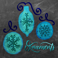 Watercolor Christmas Ornaments, Snowflake, Ribbon, Lettering: Aqua, Royal, Gold, Textured Chalkboard