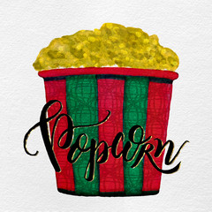Watercolor Painted Textured Christmas Holiday Movie Popcorn Bucket in Green, Red, Gold Glitter