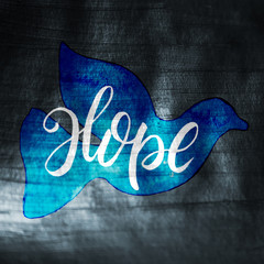Gouache Painted Simple Holiday Peaceful Dove Silhouette with Hope Lettering: Metallic Silver, Blue
