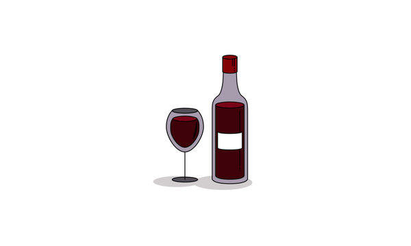 Wine Bottle and Glass Minimal Flat Illustration