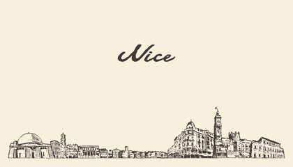 Wall Mural - Nice skyline France vintage sketch drawn city