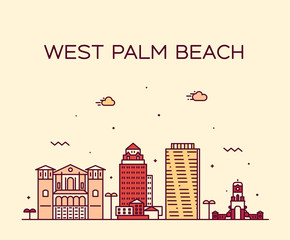 Wall Mural - West Palm Beach skyline Florida USA vector linear