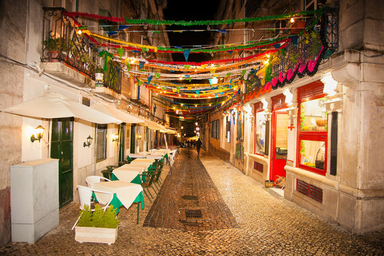 Street cafe and restaurants in the center of Lisbon, Portugal.